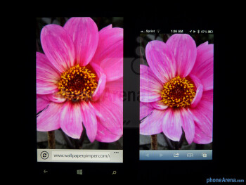 Color representation of the Nokia Lumia 920 (left) and the Apple iPhone 5 (right) - Nokia Lumia 920 vs Apple iPhone 5