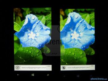 Color production of the Nokia Lumia 920 (left) and the HTC Windows Phone 8X (right) - Nokia Lumia 920 vs HTC Windows Phone 8X