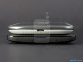 Bottom edges - The sides of the HTC DROID DNA (bottom) and the Samsung Galaxy S III (top) - HTC DROID DNA vs Samsung Galaxy S III