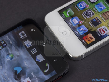 Platform buttons - The HTC DROID DNA (left) and the Apple iPhone 5 (right) - HTC DROID DNA vs Apple iPhone 5