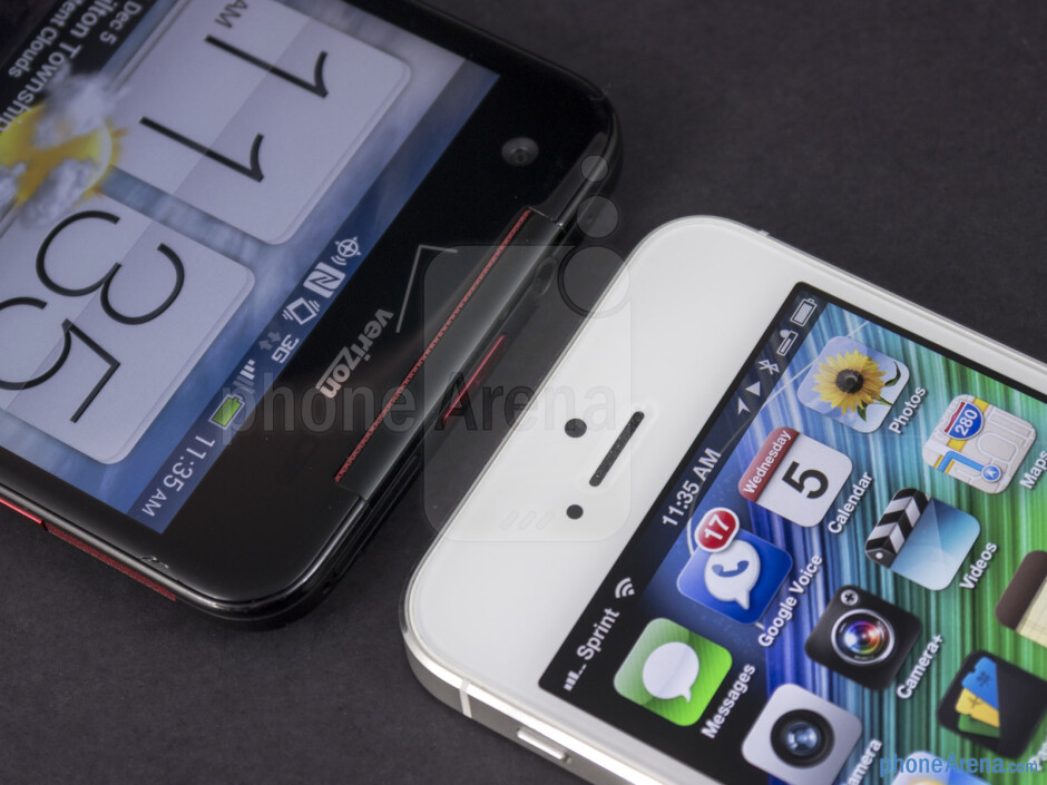 Front cameras - The HTC DROID DNA (left) and the Apple iPhone 5 (right) - HTC DROID DNA vs Apple iPhone 5