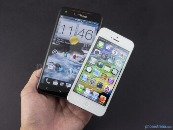The HTC DROID DNA (left) and the Apple iPhone 5 (right) - HTC DROID DNA vs Apple iPhone 5