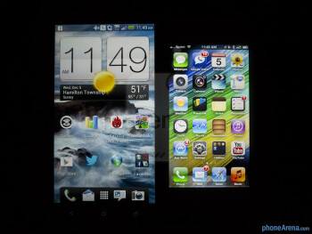 Viewing angles - Color production of the HTC DROID DNA (left) and the Apple iPhone 5 (right) - HTC DROID DNA vs Apple iPhone 5