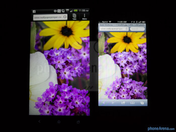 Color production of the HTC DROID DNA (left) and the Apple iPhone 5 (right) - HTC DROID DNA vs Apple iPhone 5