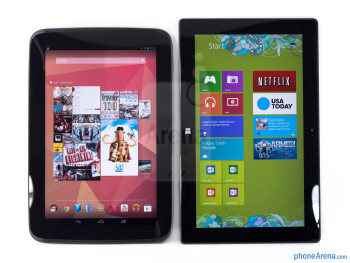 The Google Nexus 10 (left) and the Microsoft Surface RT (right) - Google Nexus 10 vs Microsoft Surface RT