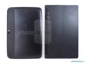 Backs - The Google Nexus 10 (left) and the Microsoft Surface RT (right) - Google Nexus 10 vs Microsoft Surface RT