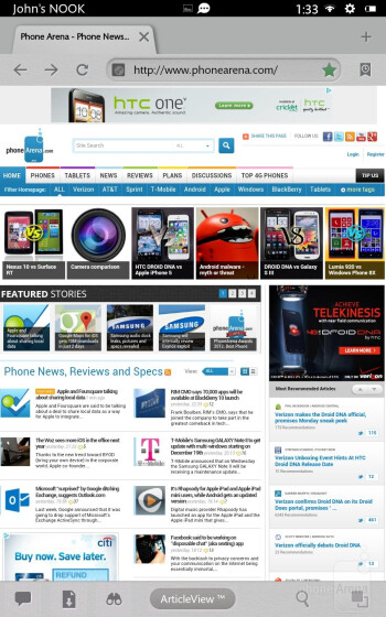 Web browsing on the Barnes & Noble NOOK HD - Barnes & Noble NOOK HD Review
