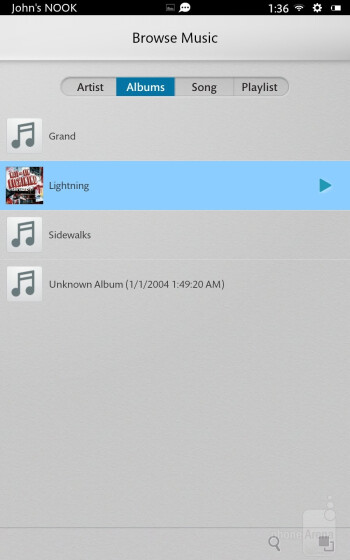 The music player of the Barnes & Noble NOOK HD - Barnes & Noble NOOK HD Review