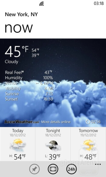 The weather app - HTC Windows Phone 8S Review