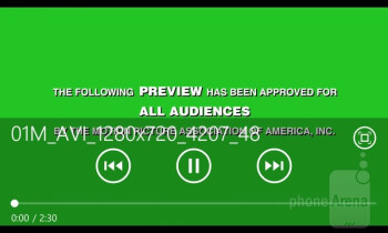 Video player - HTC Windows Phone 8S Review