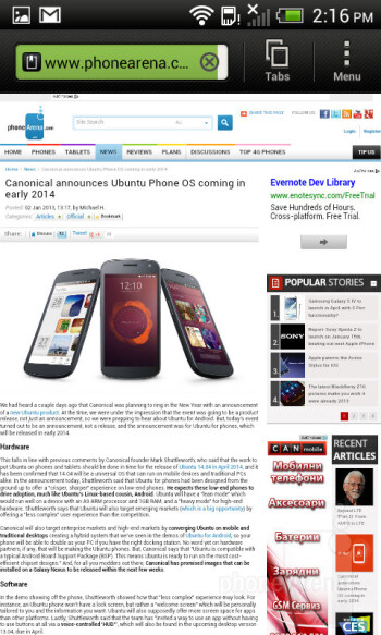 Surfing the web on the HTC One SV - HTC One SV Review