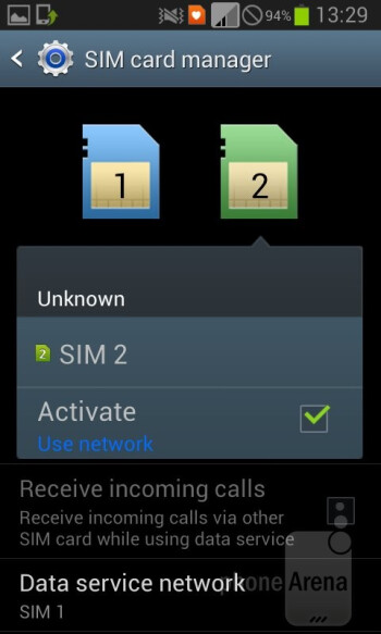 The SIM app lets you manage the level of connectivity - Samsung Galaxy Grand Duos Preview