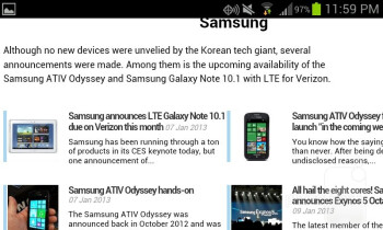 Viewing web sites - Samsung Galaxy Stratosphere II Review