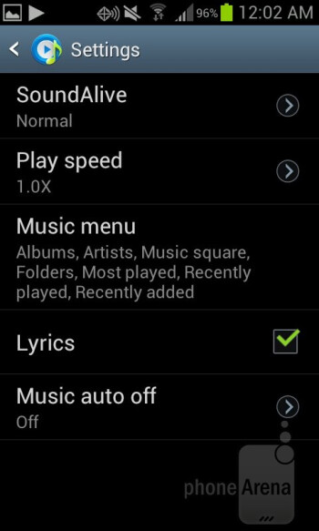 The included music player on the Samsung Galaxy Stratosphere II - Samsung Galaxy Stratosphere II Review