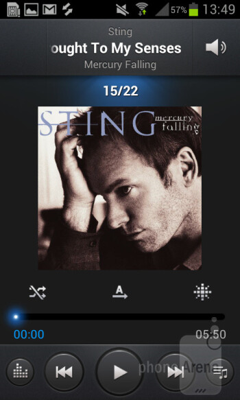Music player - Samsung Galaxy S II Plus Preview