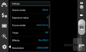 Camera interface - Samsung Galaxy S II Plus Preview