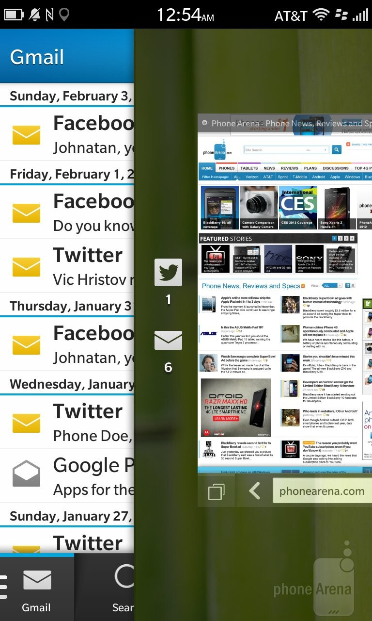 Gestures on the BlackBerry Z10 - BlackBerry 10 Review