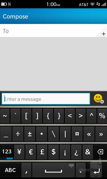 On-screen keyboard of the BlackBerry Z10 - BlackBerry 10 Review