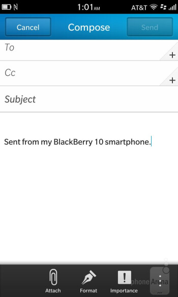 Email on the BlackBerry Z10 - BlackBerry Z10 vs Apple iPhone 5