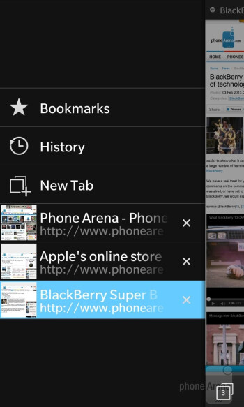 The BlackBerry 10 web browser - BlackBerry Z10 vs Apple iPhone 5