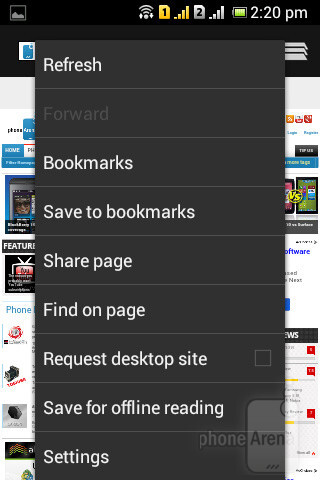 The built-in web browser on the Sony Xperia E dual - Sony Xperia E dual Review