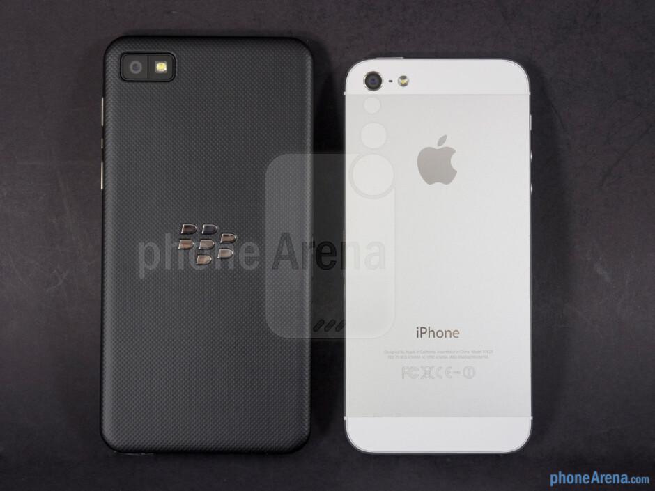 Backs - BlackBerry Z10 vs Apple iPhone 5