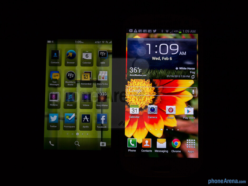 Viewing angles of the BlackBerry Z10 (left) and the Samsung Galaxy S III (right) - Color production - BlackBerry Z10 vs Samsung Galaxy S III