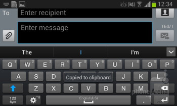 The on-screen keyboard feels more cramped than usual for a 4-inch screen - Samsung Galaxy Xcover 2 Review