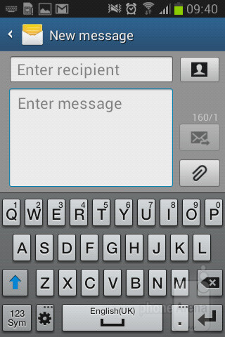 Оn-screen keyboard - Samsung Galaxy Fame Preview
