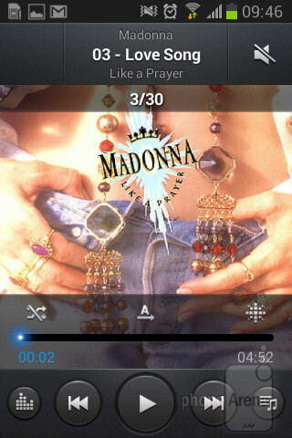 The music player of the Samsung Galaxy Fame - Samsung Galaxy Fame Preview