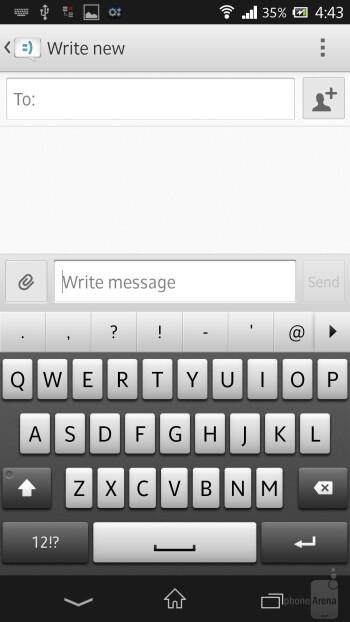 The on-screen QWERTY keyboard of Sony Xperia Z - Sony Xperia Z vs Samsung Galaxy S III