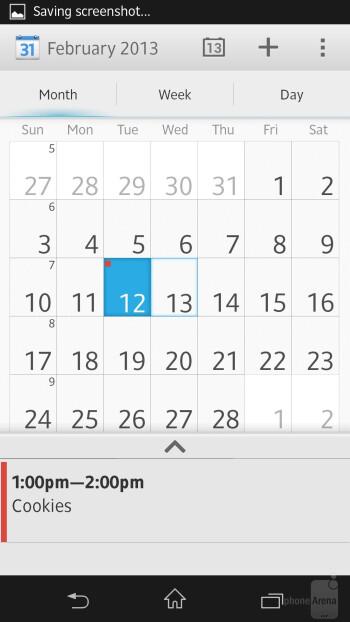 The calendar app - Sony Xperia Z Review