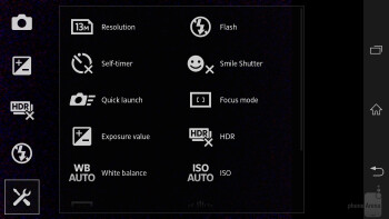 The camera interface of the Sony Xperia Z is simple and optimized - Sony Xperia Z vs Samsung Galaxy S III