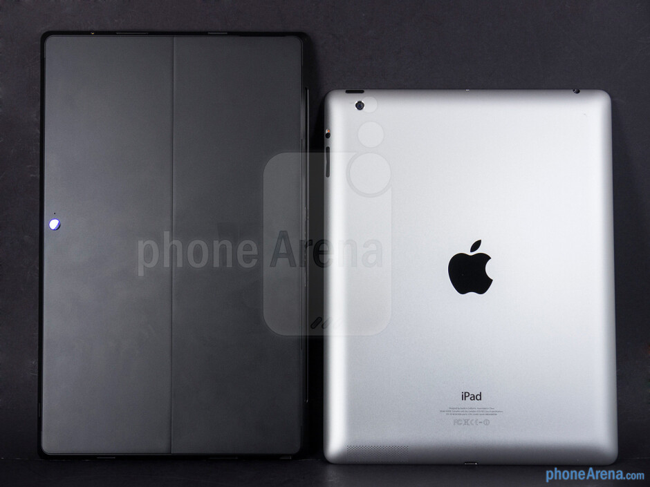 Backs - The Microsoft Surface Pro (left) and the Apple iPad 4 (right) - Microsoft Surface Pro vs Apple iPad 4