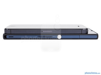 Right - The sides of the Sony Xperia Z (bottom, left) and the Apple iPhone 5 (top, right) - Sony Xperia Z vs Apple iPhone 5