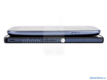 Right sides - The sides of the Sony Xperia Z (bottom, left) and the Samsung Galaxy S III (top, right) - Sony Xperia Z vs Samsung Galaxy S III