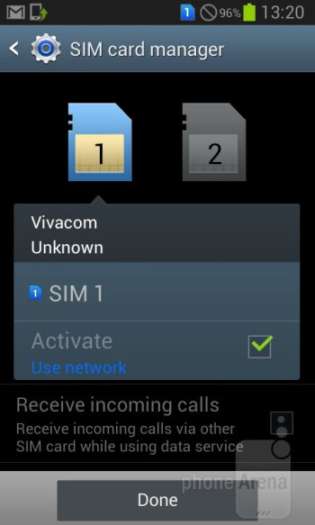 The SIM app lets you manage the level of connectivity - Samsung Galaxy Grand Duos Review
