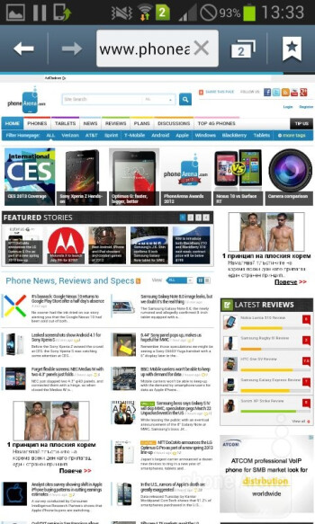 Viewing websites on the Samsung Galaxy Grand Duos - Samsung Galaxy Grand Duos Review