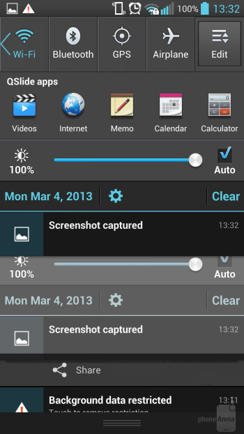The connectivity toggles slider idea of LG - LG Optimus G Pro Review
