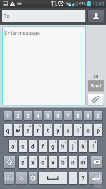 The default keyboard can be used with different modes - LG Optimus G Pro Review