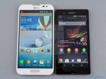 The LG Optimus G Pro (left) and the Sony Xperia Z (right) - LG Optimus G Pro vs Sony Xperia Z