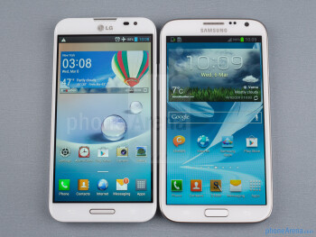The LG Optimus G Pro (left) and the Samsung Galaxy Note II (right) - LG Optimus G Pro vs Samsung Galaxy Note II