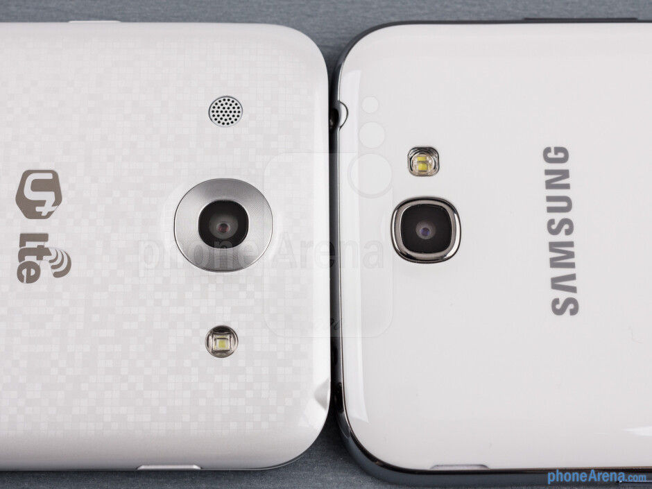 Rear cameras - The sides of the LG Optimus G Pro (bottom, left) and the Samsung Galaxy Note II (top, right) - LG Optimus G Pro vs Samsung Galaxy Note II