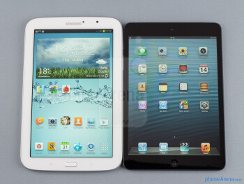 The Samsung Galaxy Note 8.0 (left) and the Apple iPad mini (right) - Samsung Galaxy Note 8.0 vs Apple iPad mini