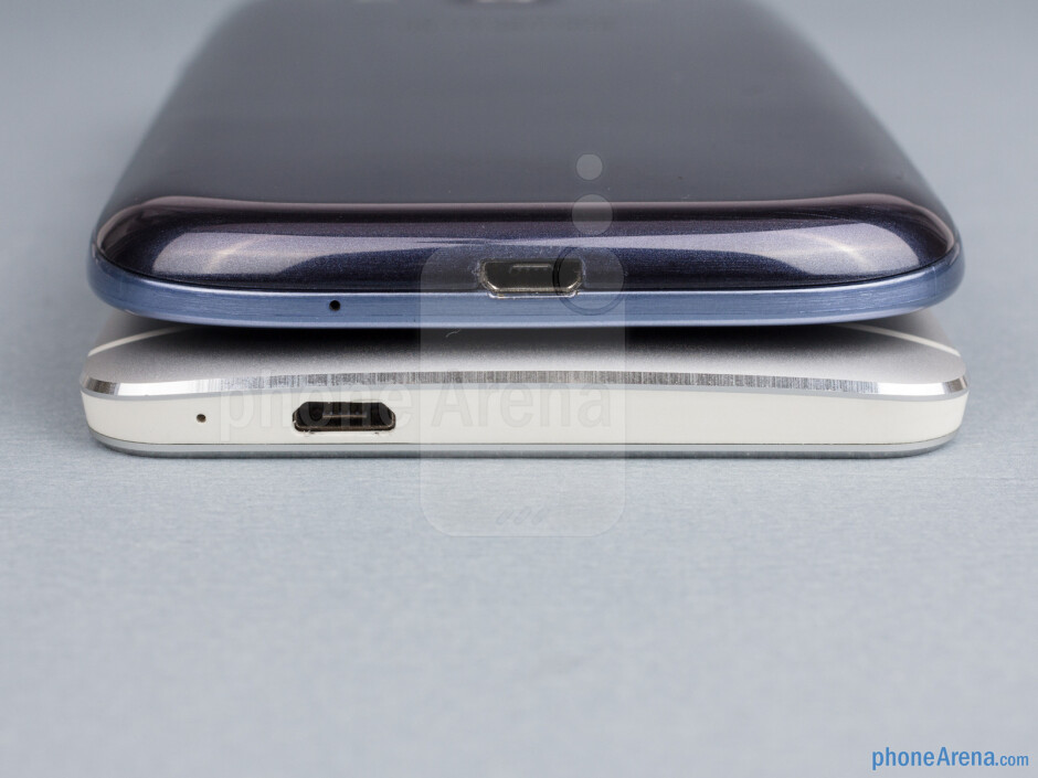 Bottom - The sides of the HTC One (bottom, left) and the Samsung Galaxy S III (top, right) - HTC One vs Samsung Galaxy S III