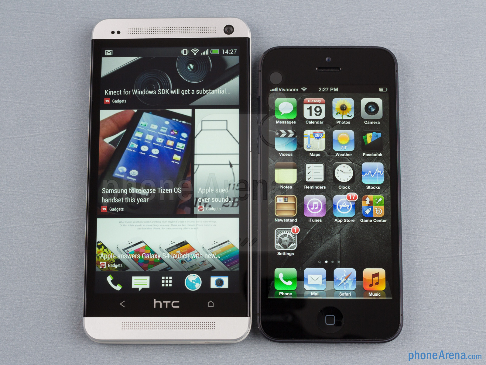 the htc one left and the apple iphone 5 right   htc one vs apple
