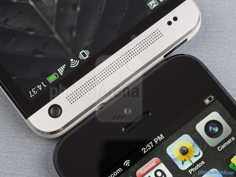 The HTC One (left) and the Apple iPhone 5 (right) - HTC One vs Apple iPhone 5