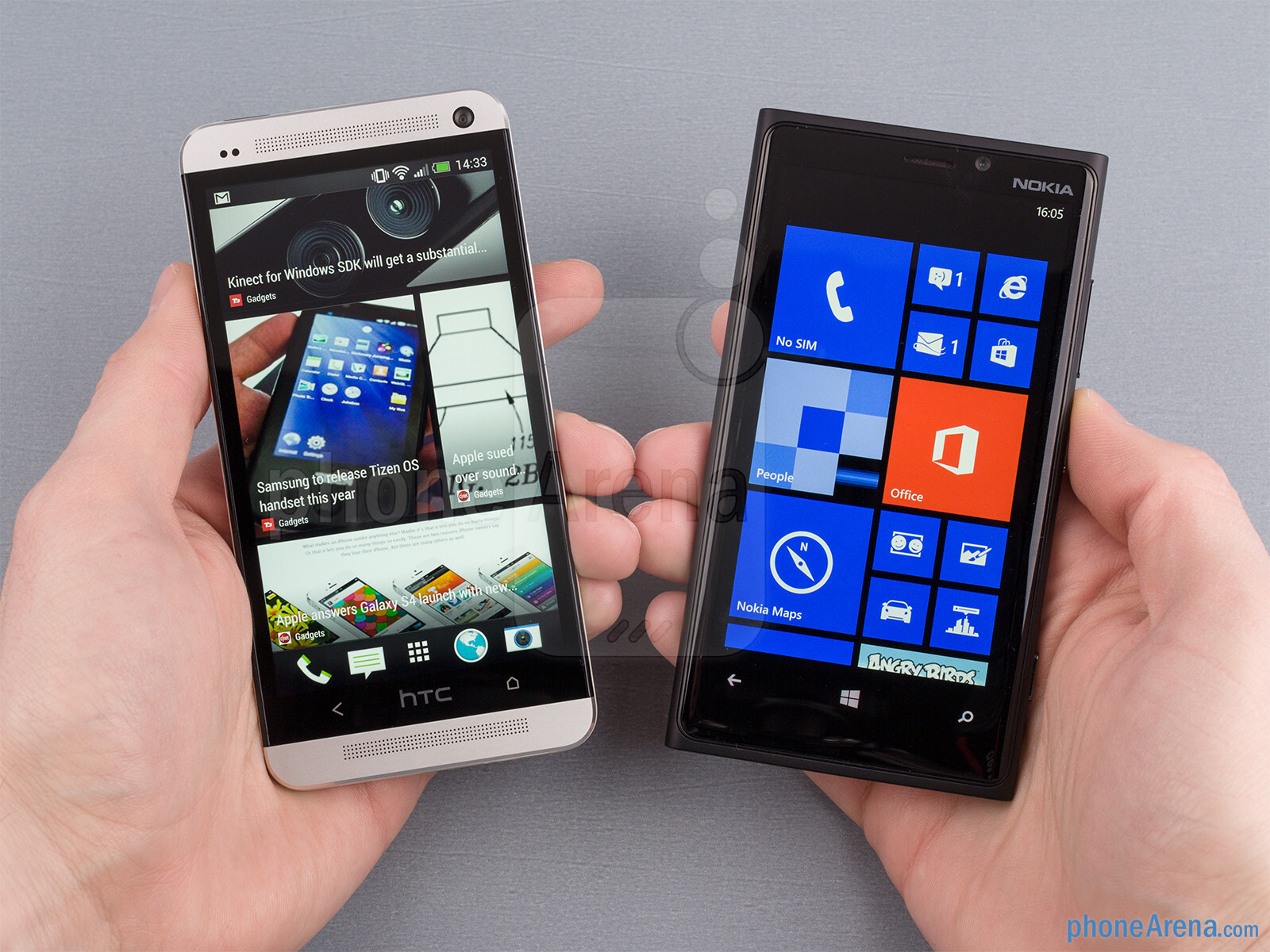 The HTC One (left) and the Nokia Lumia 920 (right)