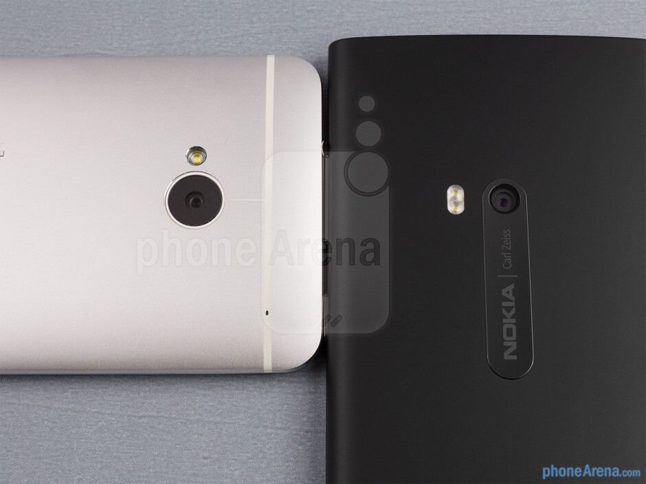 Rear cameras - The sides of the HTC One (bottom, left) and the Nokia Lumia 920 (top, right) - HTC One vs Nokia Lumia 920