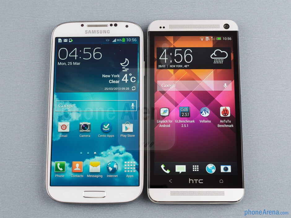 The Samsung Galaxy S4 (left) and the HTC One (right) - Samsung Galaxy S4 vs HTC One